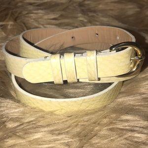 J. Crew Leather Ivory Belt Snake
